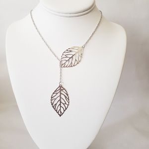 Leaf Lariat Style Necklace